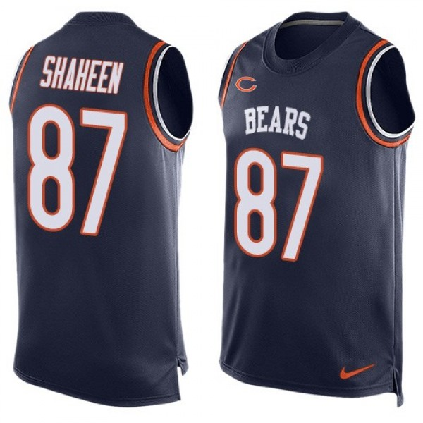 Nike Bears #87 Adam Shaheen Navy Blue Team Color Men's Stitched NFL Limited Tank Top Jersey