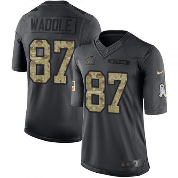 Nike Bears #87 Tom Waddle Black Men's Stitched NFL Limited 2016 Salute to Service Jersey
