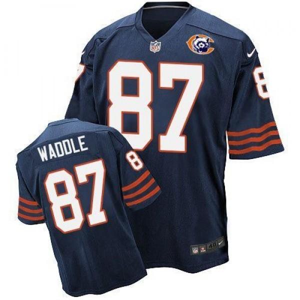Nike Bears #87 Tom Waddle Navy Blue Throwback Men's Stitched NFL Elite Jersey