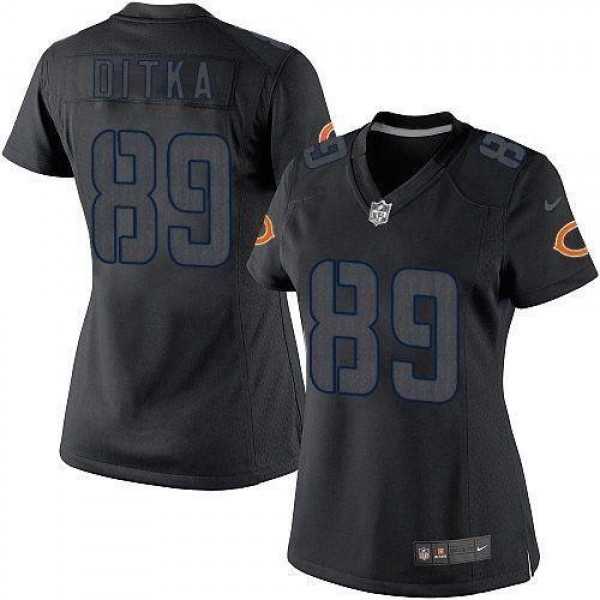 Women's Bears #89 Mike Ditka Black Impact Stitched NFL Limited Jersey