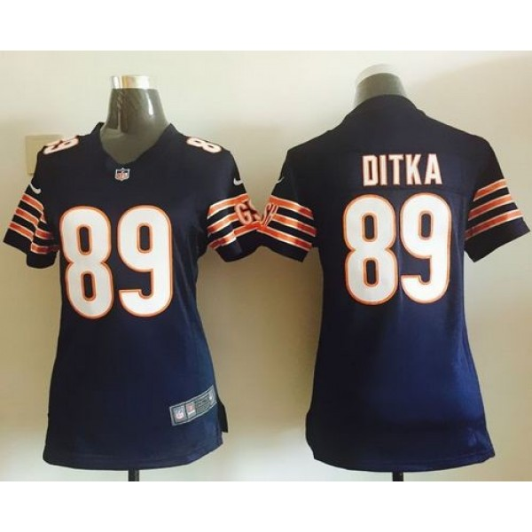 Women's Bears #89 Mike Ditka Navy Blue Team Color Stitched NFL Elite Jersey