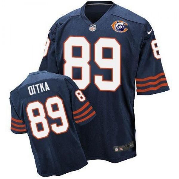 Nike Bears #89 Mike Ditka Navy Blue Throwback Men's Stitched NFL Elite Jersey