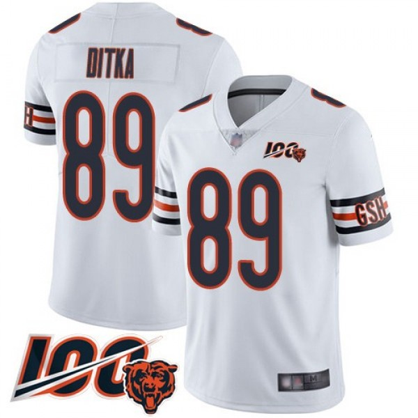 Nike Bears #89 Mike Ditka White Men's Stitched NFL 100th Season Vapor Limited Jersey