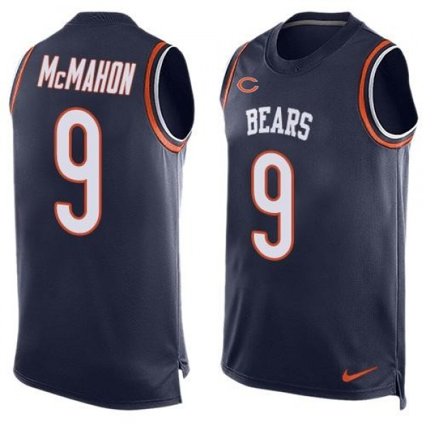 Nike Bears #9 Jim McMahon Navy Blue Team Color Men's Stitched NFL Limited Tank Top Jersey