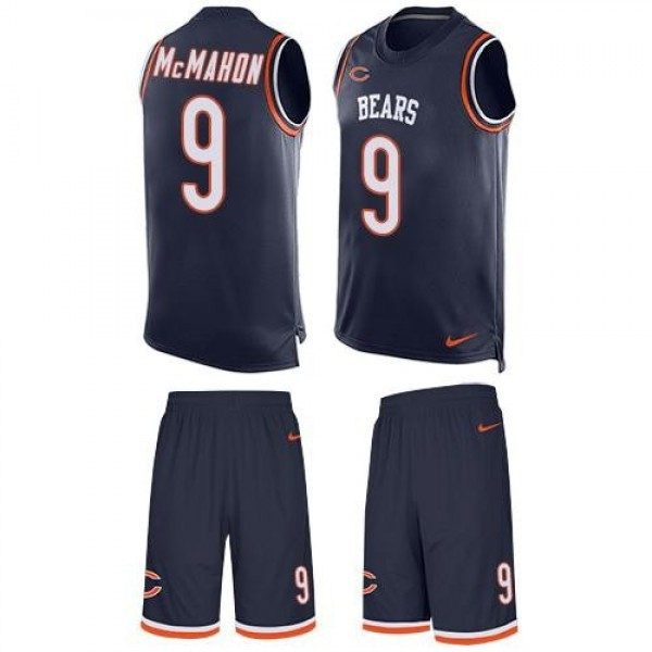 Nike Bears #9 Jim McMahon Navy Blue Team Color Men's Stitched NFL Limited Tank Top Suit Jersey