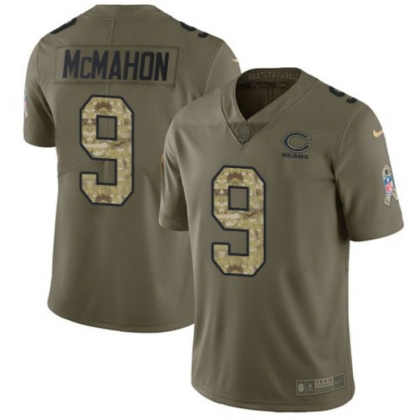 Nike Bears #9 Jim McMahon Olive/Camo Men's Stitched NFL Limited 2017 Salute To Service Jersey