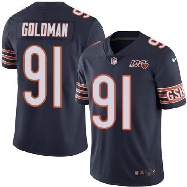 Nike Bears #91 Eddie Goldman Navy Blue Team Color Men's 100th Season Stitched NFL Vapor Untouchable Limited Jersey