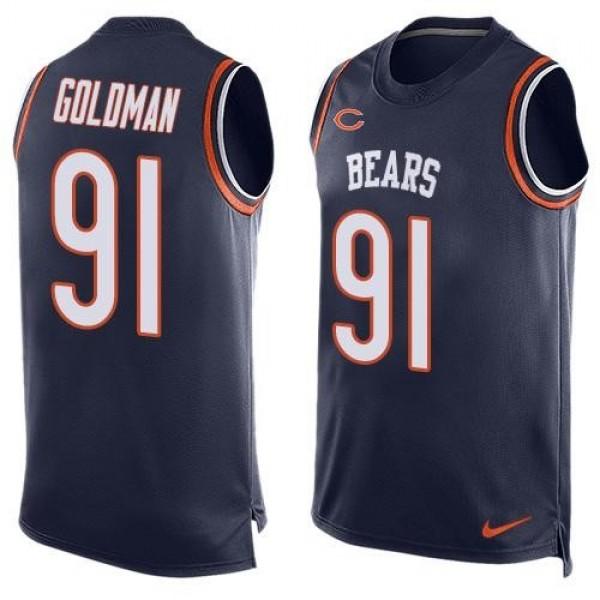 Nike Bears #91 Eddie Goldman Navy Blue Team Color Men's Stitched NFL Limited Tank Top Jersey