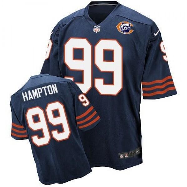 Nike Bears #99 Dan Hampton Navy Blue Throwback Men's Stitched NFL Elite Jersey