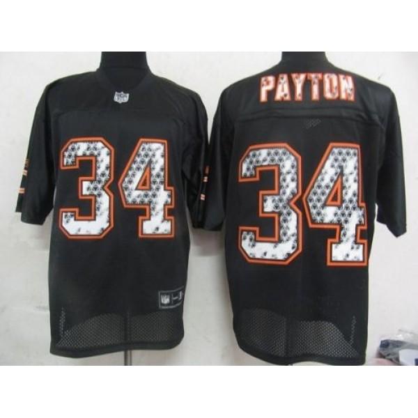 Sideline Black United Bears #34 Walter Payton Black Stitched NFL Jersey