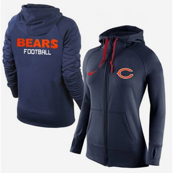 Women's Chicago Bears Full-Zip Hoodie Dark Blue Jersey