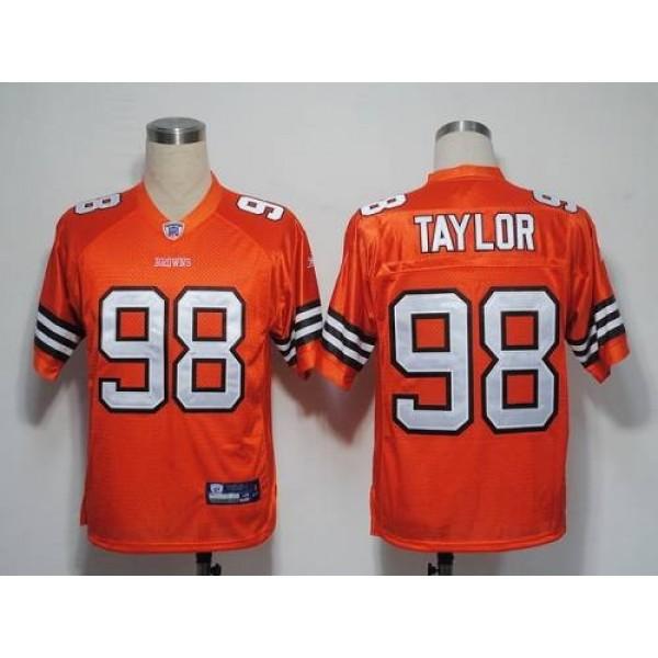 Browns #98 Phil Taylor Orange Stitched NFL Jersey
