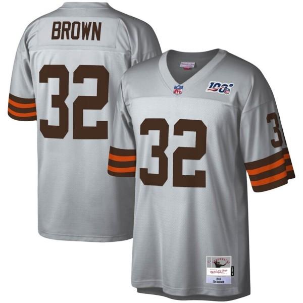 Cleveland Browns #32 Jim Brown Mitchell & Ness NFL 100 Retired Player Platinum Jersey