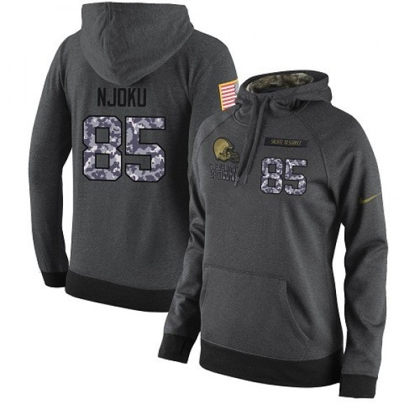 Women's NFL Cleveland Browns #85 David Njoku Stitched Black Anthracite Salute to Service Player Hoodie Jersey