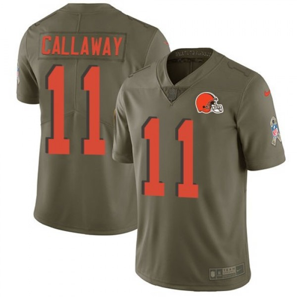 Nike Browns #11 Antonio Callaway Olive Men's Stitched NFL Limited 2017 Salute To Service Jersey