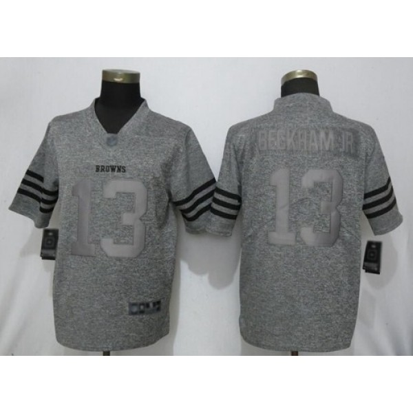Nike Browns #13 Odell Beckham Jr Gray Men's Stitched NFL Limited Gridiron Gray Jersey