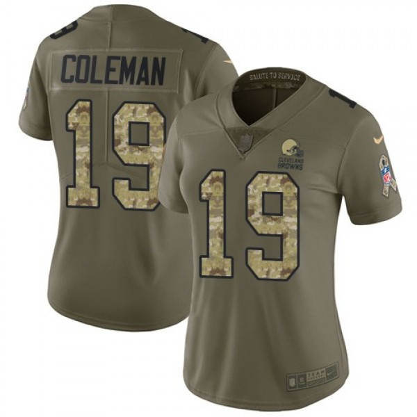 Women's Browns #19 Corey Coleman Olive Camo Stitched NFL Limited 2017 Salute to Service Jersey