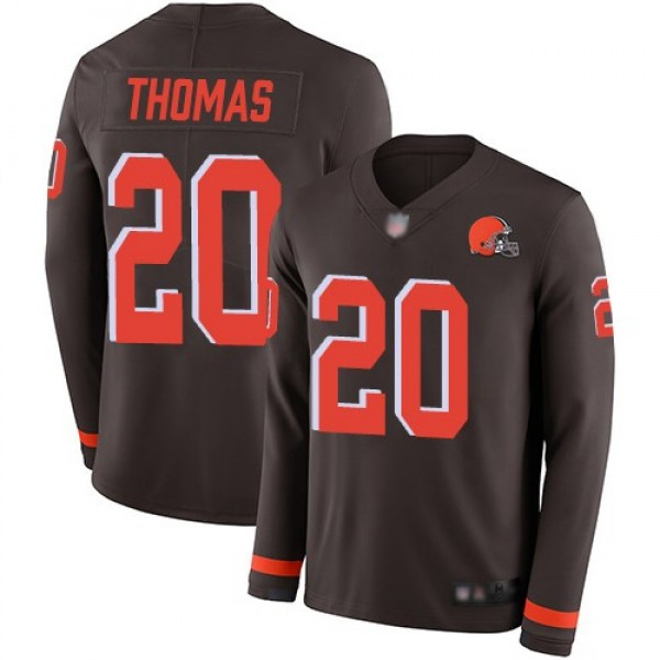 Nike Browns #20 Tavierre Thomas Brown Team Color Men's Stitched NFL Limited Therma Long Sleeve Jersey