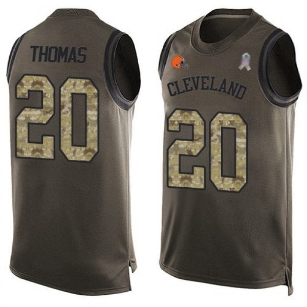 Nike Browns #20 Tavierre Thomas Green Men's Stitched NFL Limited Salute To Service Tank Top Jersey