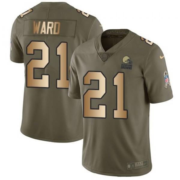 Nike Browns #21 Denzel Ward Olive/Gold Men's Stitched NFL Limited 2017 Salute To Service Jersey