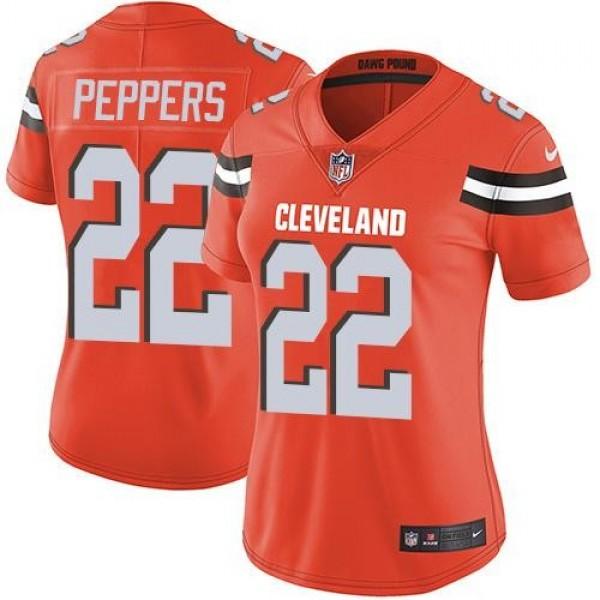 Women's Browns #22 Jabrill Peppers Orange Alternate Stitched NFL Vapor Untouchable Limited Jersey