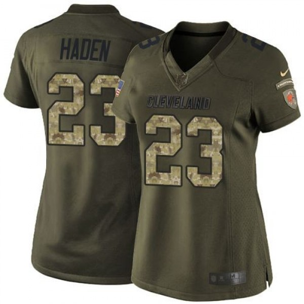 Women's Browns #23 Joe Haden Green Stitched NFL Limited Salute to Service Jersey