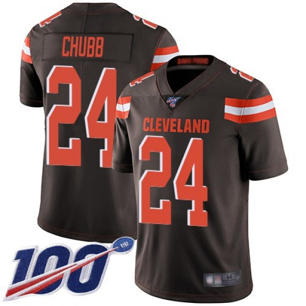 Nike Browns #24 Nick Chubb Brown Team Color Men's Stitched NFL 100th Season Vapor Limited Jersey