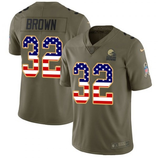 Nike Browns #32 Jim Brown Olive/USA Flag Men's Stitched NFL Limited 2017 Salute To Service Jersey