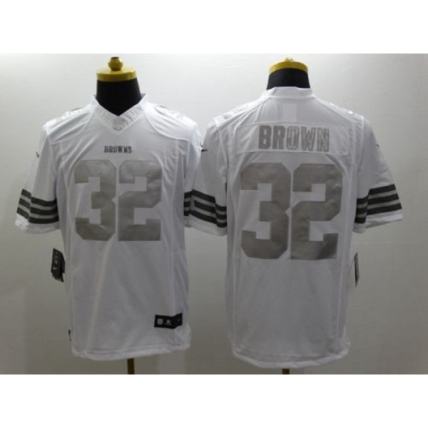 Nike Browns #32 Jim Brown White Men's Stitched NFL Limited Platinum Jersey