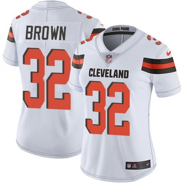 Women's Browns #32 Jim Brown White Stitched NFL Vapor Untouchable Limited Jersey