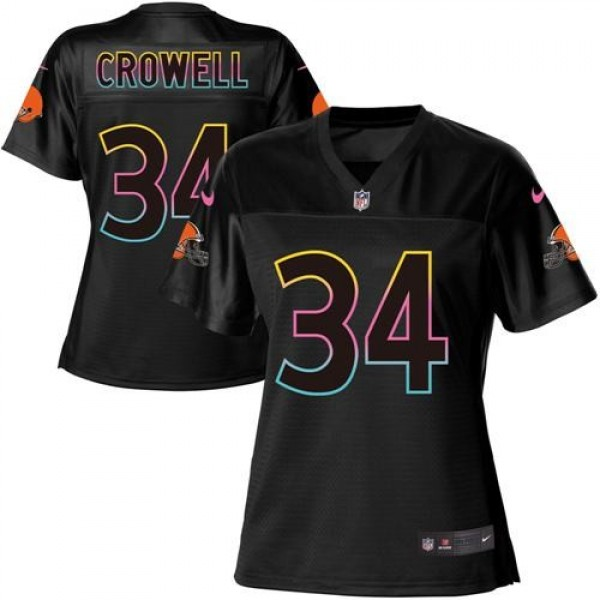 Women's Browns #34 Isaiah Crowell Black NFL Game Jersey
