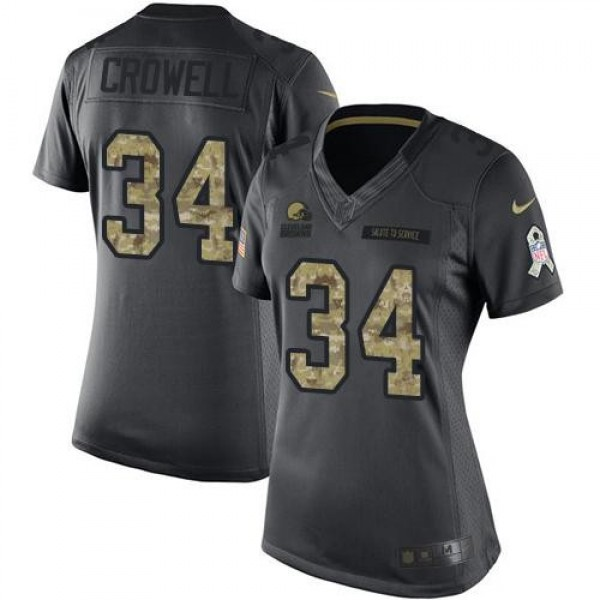 Women's Browns #34 Isaiah Crowell Black Stitched NFL Limited 2016 Salute to Service Jersey