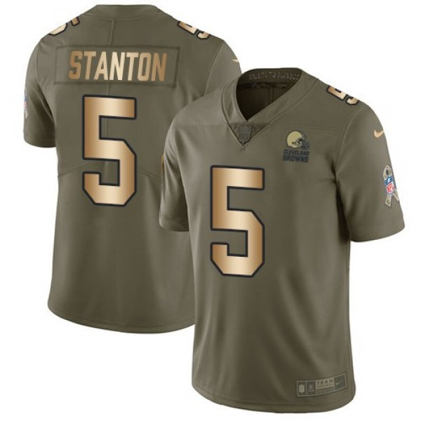 Nike Browns #5 Drew Stanton Olive/Gold Men's Stitched NFL Limited 2017 Salute To Service Jersey