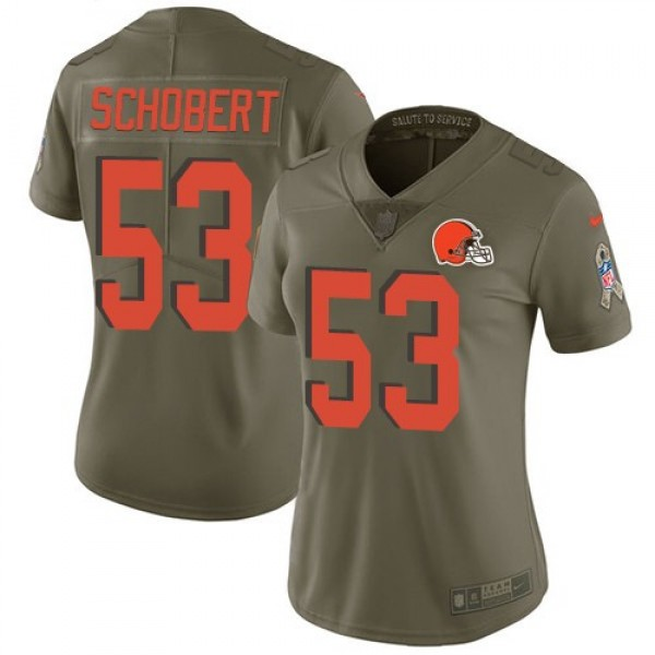Women's Browns #53 Joe Schobert Olive Stitched NFL Limited 2017 Salute to Service Jersey