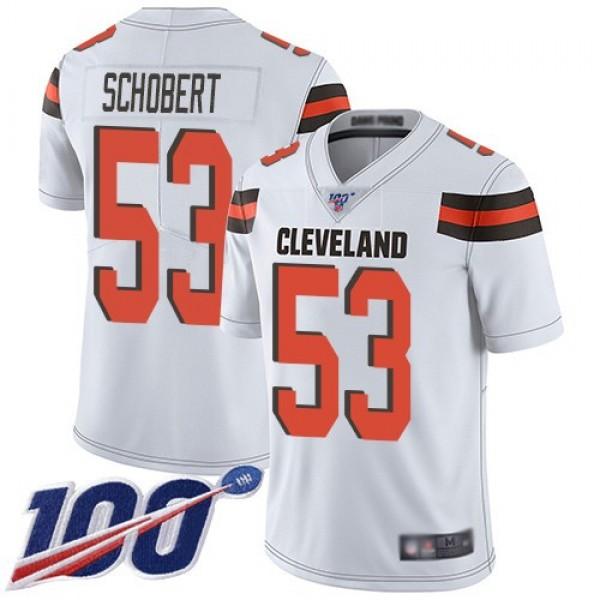 Nike Browns #53 Joe Schobert White Men's Stitched NFL 100th Season Vapor Limited Jersey