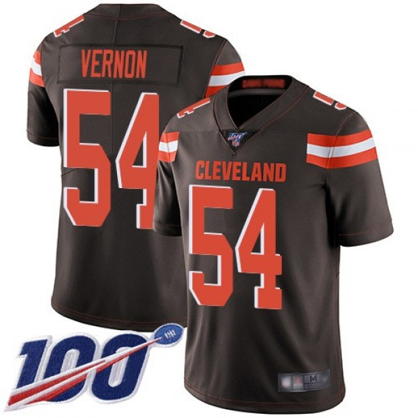 Nike Browns #54 Olivier Vernon Brown Team Color Men's Stitched NFL 100th Season Vapor Limited Jersey