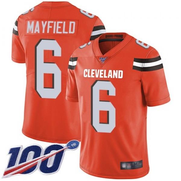 Nike Browns #6 Baker Mayfield Orange Alternate Men's Stitched NFL 100th Season Vapor Limited Jersey