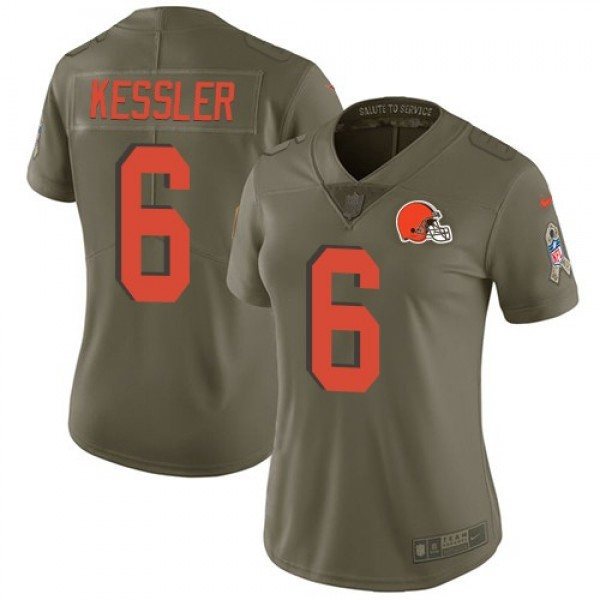 Women's Browns #6 Cody Kessler Olive Stitched NFL Limited 2017 Salute to Service Jersey