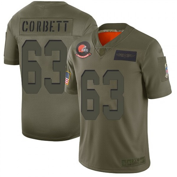 Nike Browns #63 Austin Corbett Camo Men's Stitched NFL Limited 2019 Salute To Service Jersey