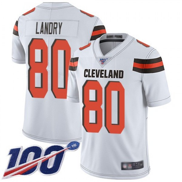 Nike Browns #80 Jarvis Landry White Men's Stitched NFL 100th Season Vapor Limited Jersey