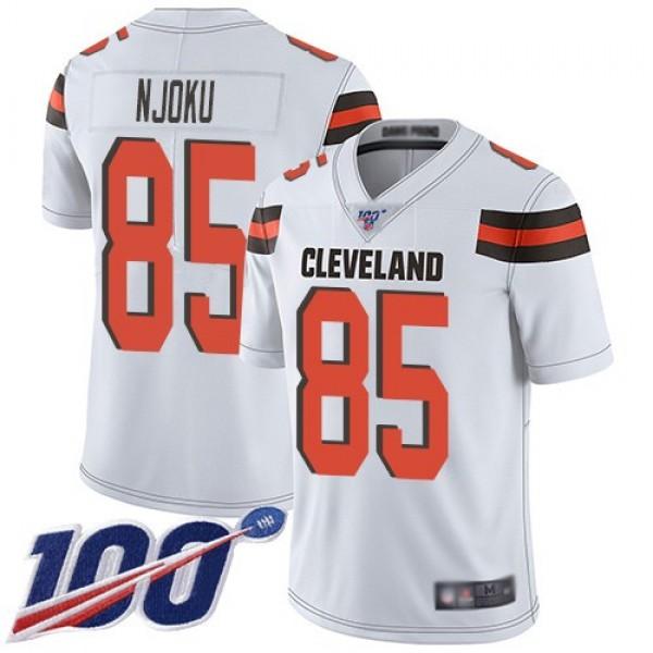Nike Browns #85 David Njoku White Men's Stitched NFL 100th Season Vapor Limited Jersey