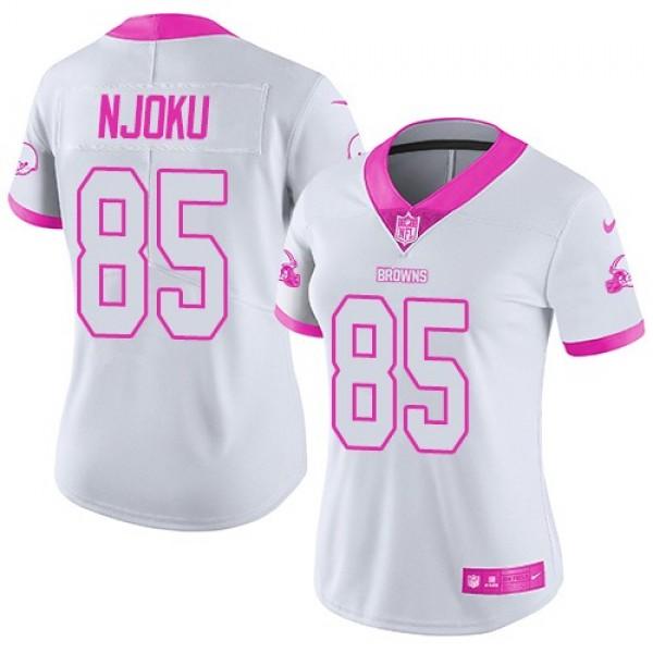 Women's Browns #85 David Njoku White Pink Stitched NFL Limited Rush Jersey