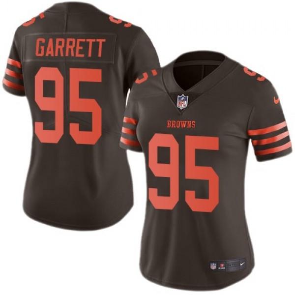 Women's Browns #95 Myles Garrett Brown Stitched NFL Limited Rush Jersey