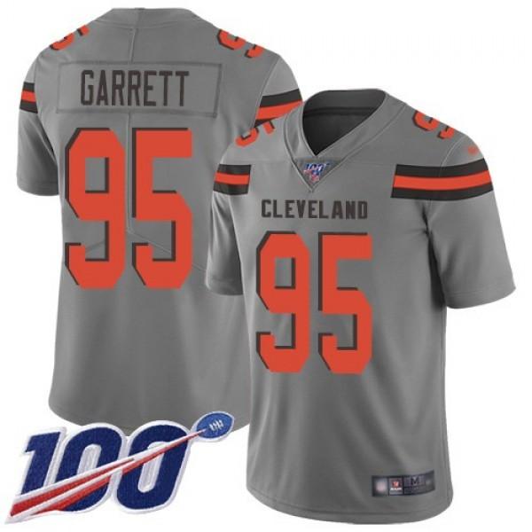 Nike Browns #95 Myles Garrett Gray Men's Stitched NFL Limited Inverted Legend 100th Season Jersey