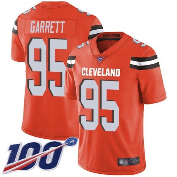 Nike Browns #95 Myles Garrett Orange Alternate Men's Stitched NFL 100th Season Vapor Limited Jersey