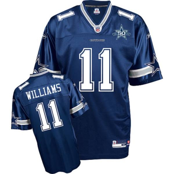Cowboys #11 Roy Williams Blue Team 50TH Anniversary Patch Stitched NFL Jersey