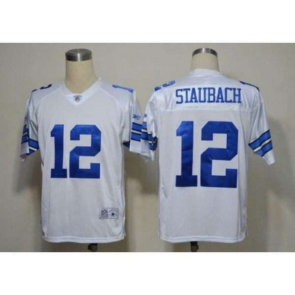 Cowboys #12 Roger Staubach White Legend Throwback Stitched NFL Jersey