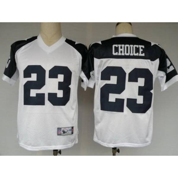 Cowboys #23 Tashard Choice White Thanksgiving Stitched Throwback NFL Jersey
