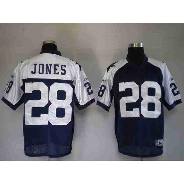 Cowboys #28 Felix Jones Blue Thanksgiving Stitched Throwback NFL Jersey