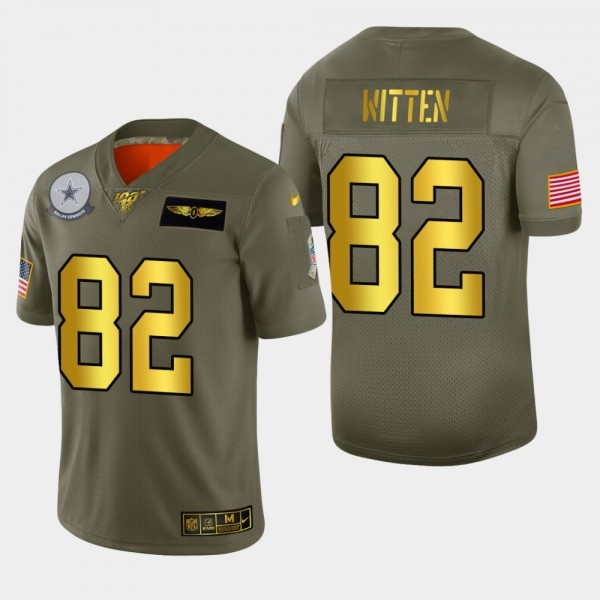 Dallas Cowboys #82 Jason Witten Men's Nike Olive Gold 2019 Salute to Service Limited NFL 100 Jersey